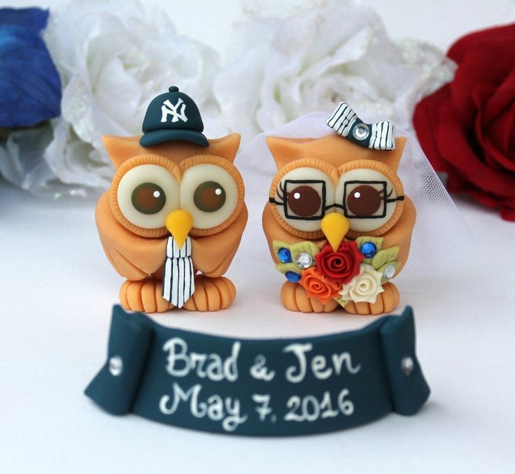 Baseball wedding, owl cake topper, pets can be added!  https://www.etsy.com/listing/97093210/owl-wedding-cake-topper-baseball-custom?ref=shop_home_active_1