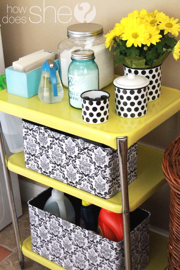 Cutest way EVER to organize a laundry room.  I especially love the dry-erase board!!
