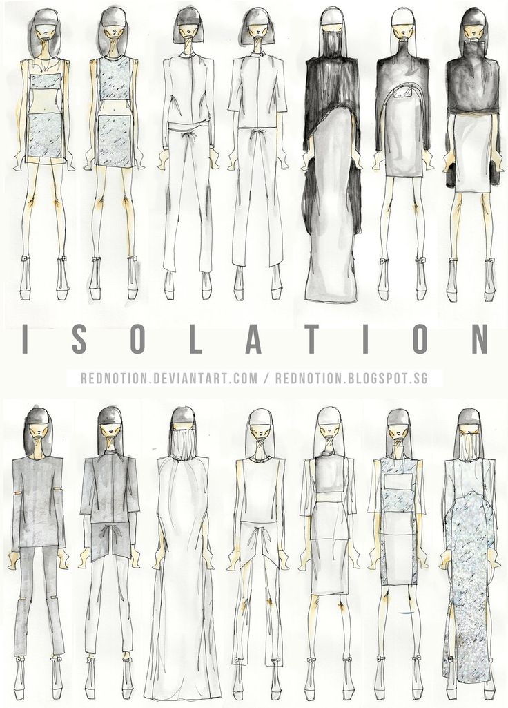 Fashion Portfolio - Isolation collection lineup drawings; fashion illustration; fashion sketchbook // Lizzi Lim