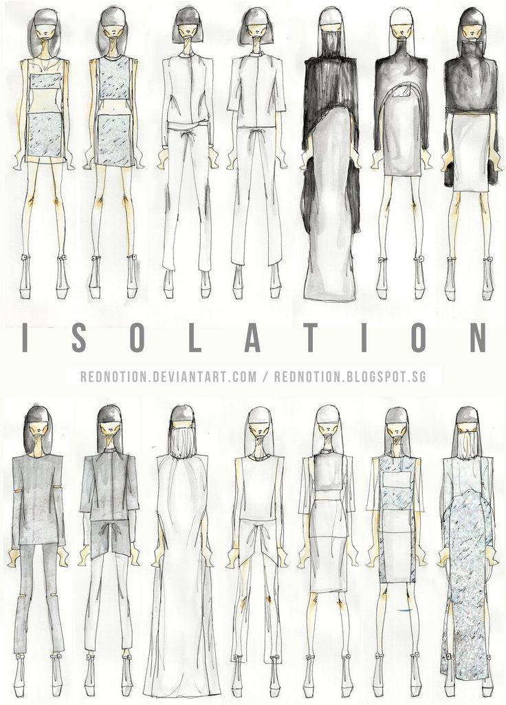 Fashion Portfolio - Isolation collection lineup drawings; fashion illustration; fashion sketchbook // Lizzi Lim