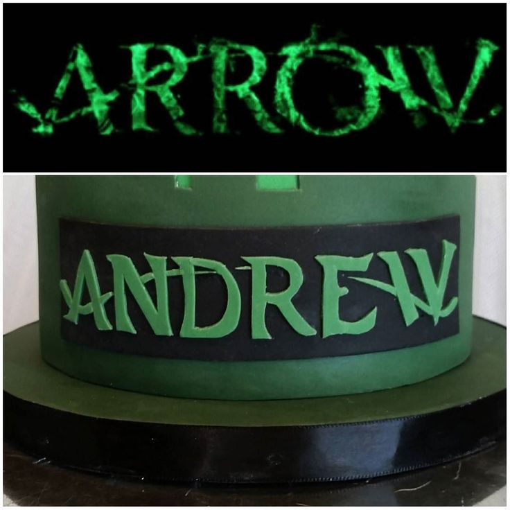 A closeup of The Arrow themed birthday cake from this week! How perfect is this? Andrew starts with an A and ends in a W just like the logo! I could not find this font online so I had to sketch it out by hand on wax paper cut those pieces out as a template then carefully cut each letter out of gumpaste with an X-acto knife. Then each little line was cut down and placed after the font. This was hard work but oh so worth it! #itsallinthedetails #details #fondant #cake #cakestagram…