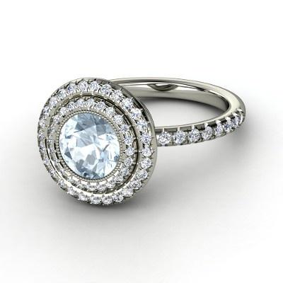 Round Aquamarine 14K White Gold Ring with Diamond - Default