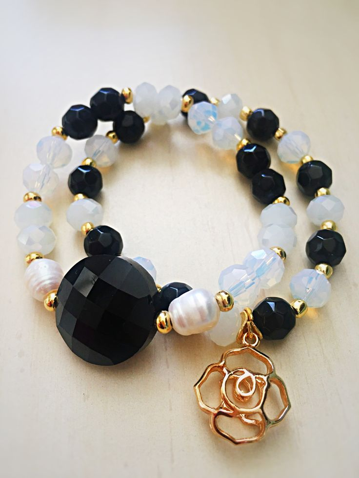 Opalite, fresh water pearl, black agate and gold beads bracelet