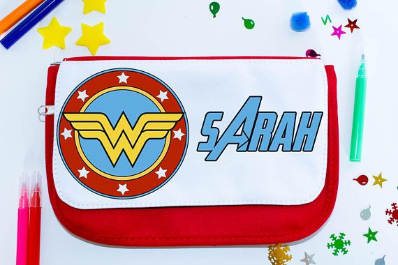 Wonder Woman personalised school pencil case  desk storage