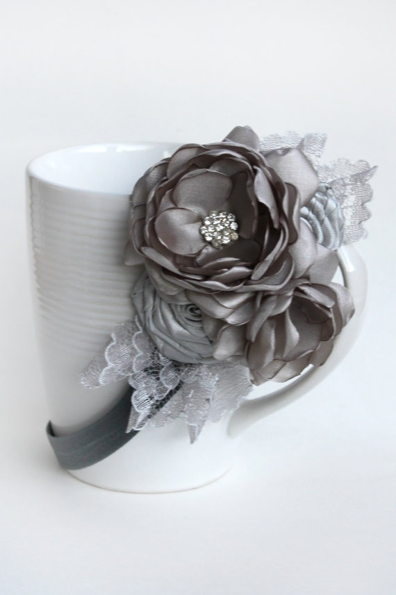 Silver Gray Lacey Cluster by JensBowdaciousBows on Etsy, $14.95
