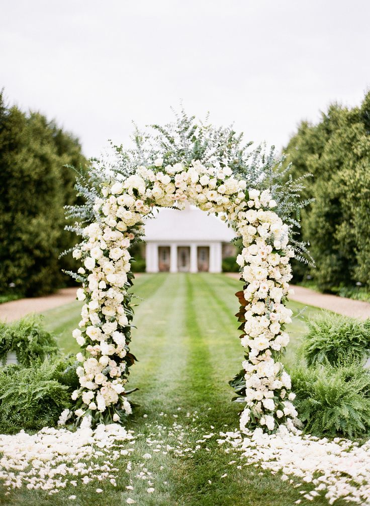 White rose arch. Lavender Green. photography by http://katiestoops.com/: