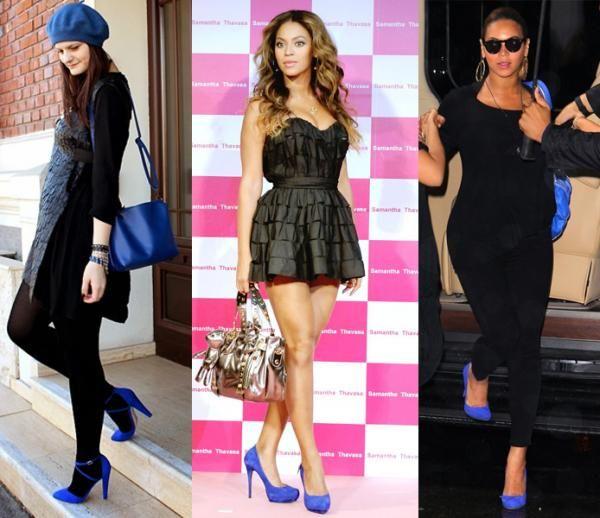 Total black y zapatos azules