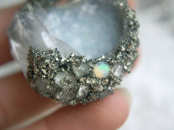 Crystal geode fairy cave necklace sterling silver moon by Wulfcub