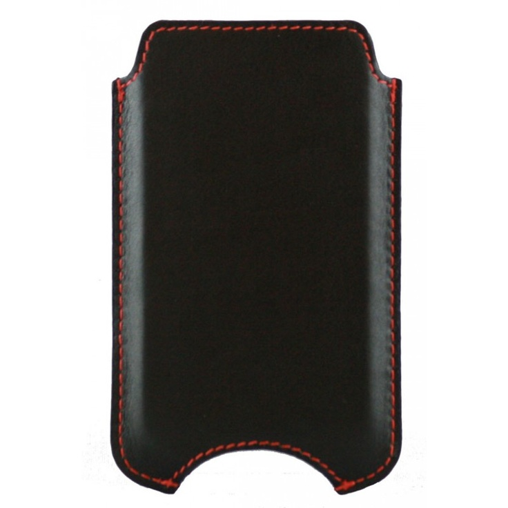 Smooth black leather case for iPhone 4 & 4S.