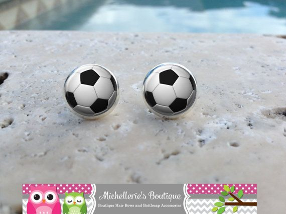 Soccer Ball Earrings Soccer Jewelry Soccer by MichelleriesBoutique
