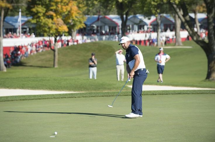 Ryan Moore of the United States makes the winning putt on the 18th hole during the singles matches for the 41st Ryder Cup (Photo by Montana Pritchard/PGA of America) http://ift.tt/2dXY7U3