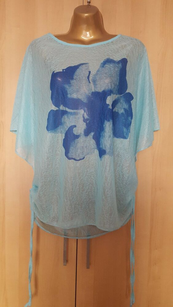 IZABEL LONDON Pretty Blue Oversized Sheer Floral Top Size UK 16 NEW  fashion   clothing  shoes  accessories  womensclothing  tops (ebay link) 344e09bed