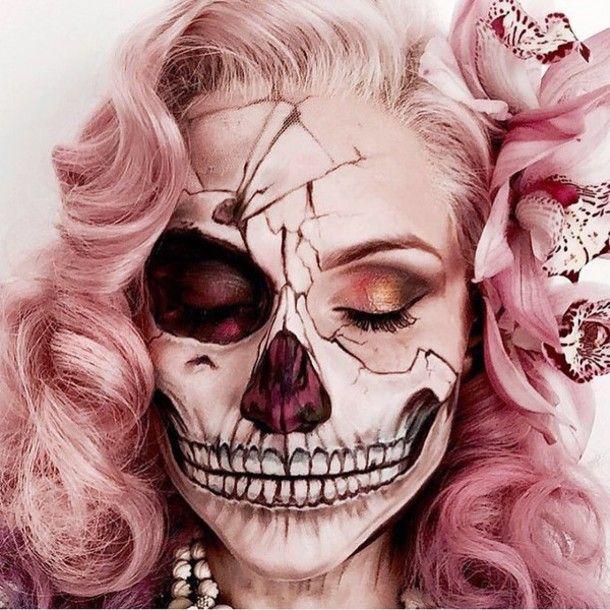 Make-up: halloween makeup halloween accessory halloween halloween costume pink hair pastel hair