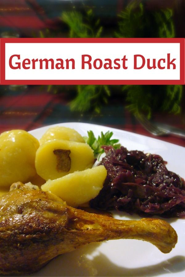 Traditional German Christmas Duck Dinner with roast duck, potato dumplings, red cabbage and lots of gravy! Check out this easy recipe at http://www.quick-german-recipes.com/roast-duck-recipe.html