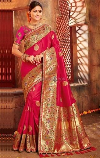 ea200743f4abd2 Grab This Classicist Rose Pink #Art #Silk #Saree_Blouse With Print &  Embroidery. This #Embroidered #Contemporary #Art_Silk #Sari_Blouse Has  Short Sleeves ...