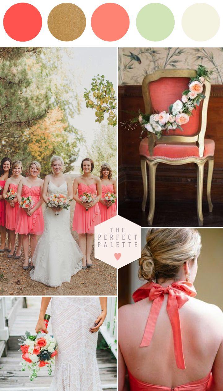 Justo los colores q deseo ver en nuestro gran da: coral, menta, dorado   Wedding Color PalettesWedding ...