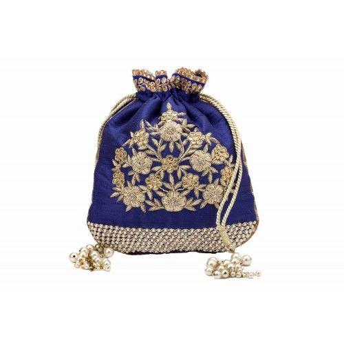 Royal blue zardosi potli