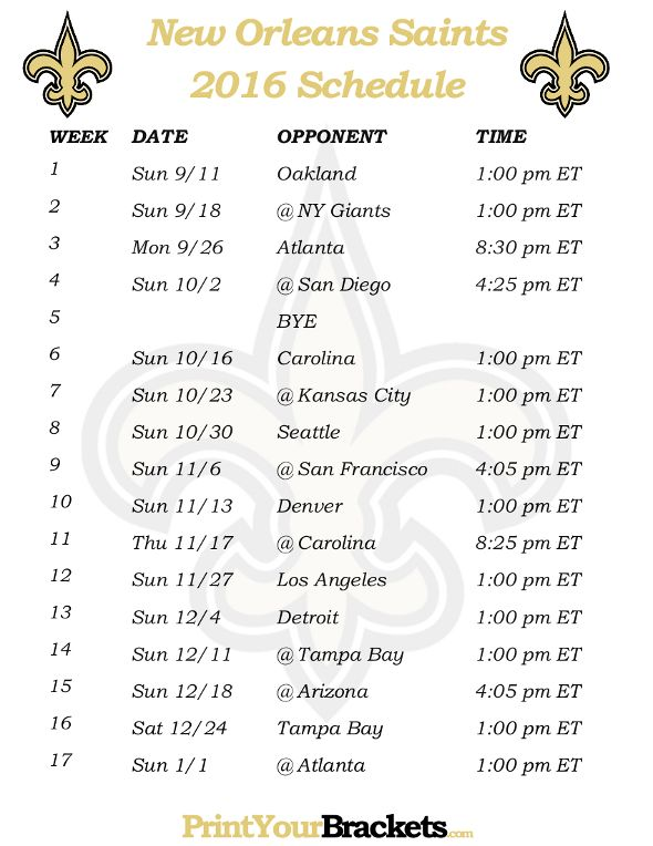 Printable New Orleans Saints Schedule - 2016 Football Season