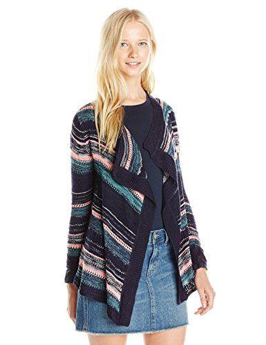 PINK ROSE Junior's Long Sleeve Open Front Multi Stripe Cardigan Sweater