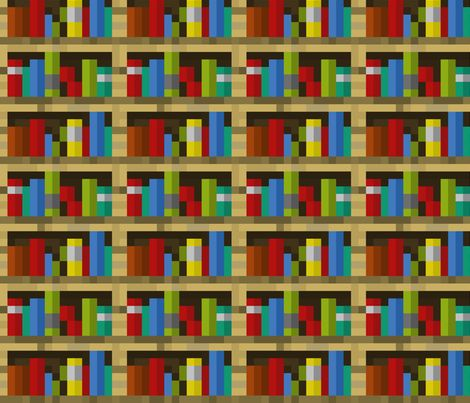 Pixelated Bookshelves - Large fabric by elsielevelsup on Spoonflower -  custom fabric - 66 Best Dom's Room Images On Pinterest Green Rugs, Minecraft