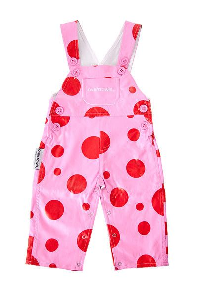"Bright, funky and supremely practical red and pink dot overalls!  These amazing overalls are unique and exclusive to Overcrawls - perfect little garment for messy little boys and girls!  Wear them over ""normal"" clothing and let them go... parties, the park, kinder or childcare, an afternoon at grandmas or digging in the garden - once they've had enough of exploring simply remove them and their outfit is intact and CLEAN! #littlebooteekau #overcrawls #kidsclothes #girlsoveralls #cleankids"