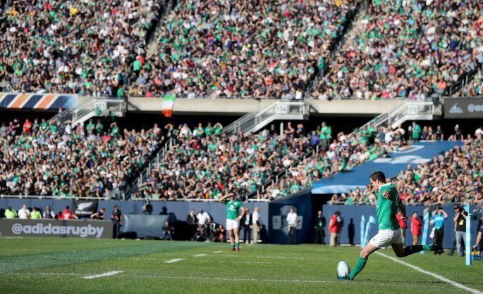 Ireland's Jonathan Sexton converts their first try. Photo: Dan Sheridan/Inpho