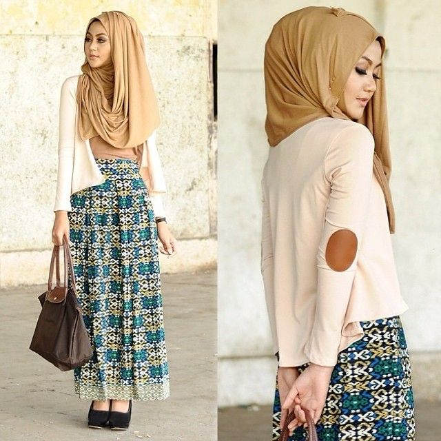 ♥ Muslimah fashion & hijab style.Love the elbow patch