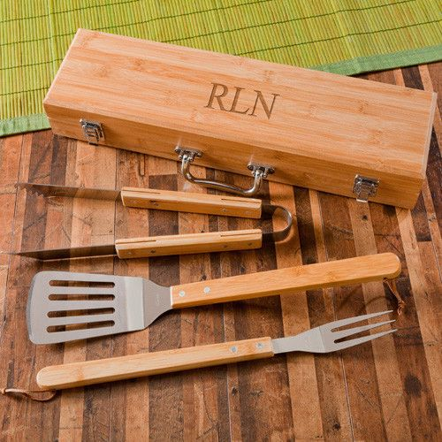 Father's Day Gift: Personalized Grilling BBQ Set with Bamboo Case