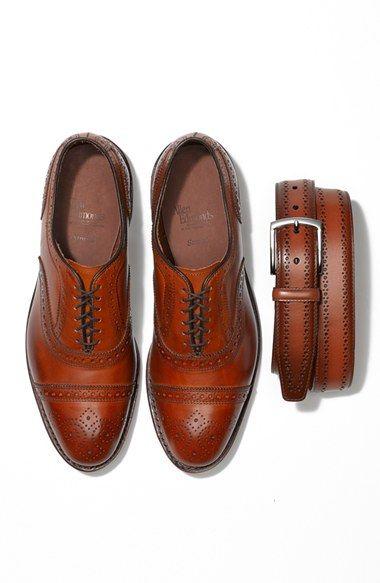 Allen Edmonds Strand and 'Manistee' Brogue Leather Belt (Walnut)