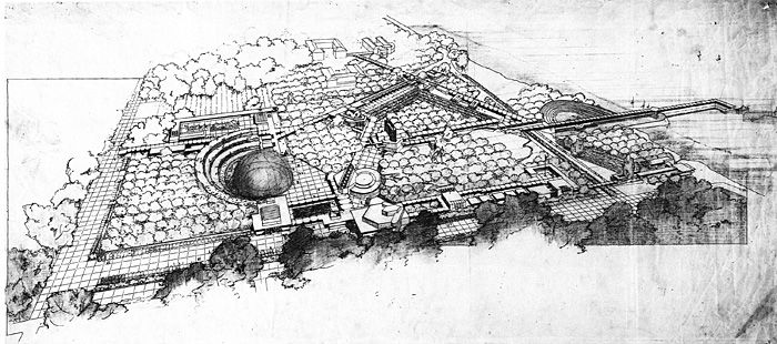 Early Frank Lloyd Wright conceptual drawing of Florida Southern College Campus