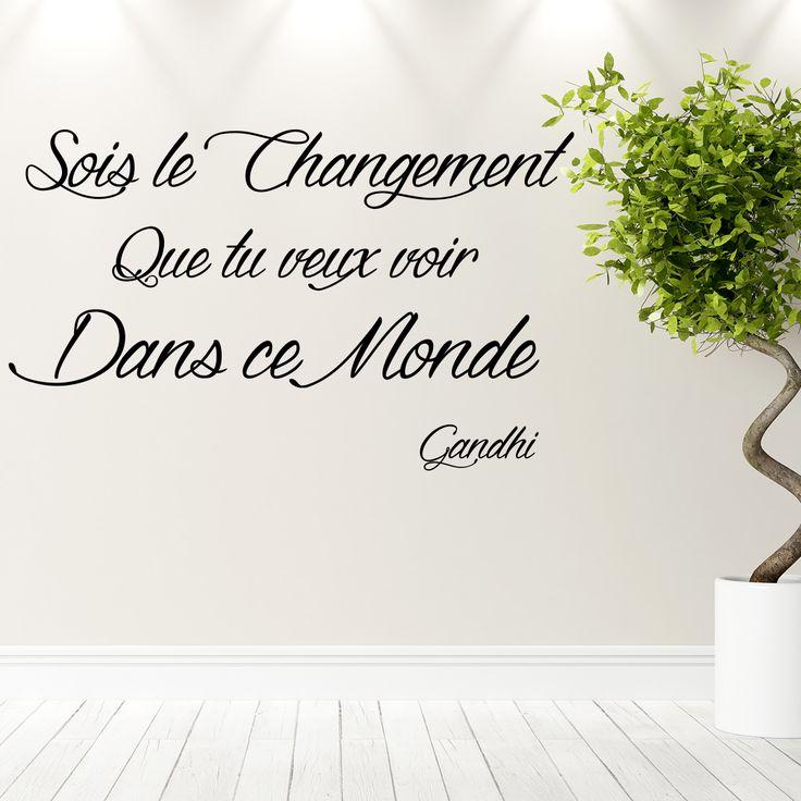 Sticker citation Sois le changement - Gandhi - Ambiance-sticker.com #sticker #citation #Gandhi