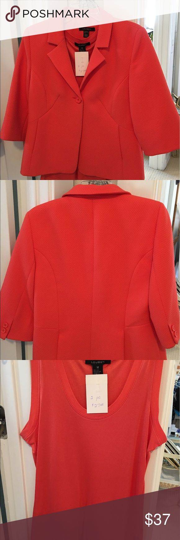 Louben ladies summer Jacket & matching shell Sz 8 Louben ladies summer Jacket & matching shell Sz 8 - Beautiful coral color with a medium silk and cotton shell underneath Louben Jackets & Coats Blazers