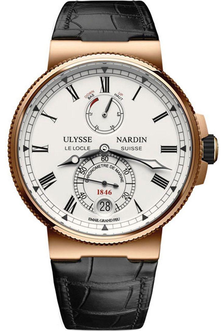 ULYSSE NARDIN - 1186-126/E0 18ct rose gold and leather Marine Chronometer watch | Selfridges.com #menwatches