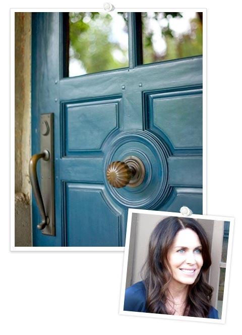 Spotlight On: Laura Cunningham: Center Doorknob, Front Doors Colors, Entry Doors, Blue Doors, Door Colors, Orange Brick, Rich Blue, The French Laundry, Doors Knockers