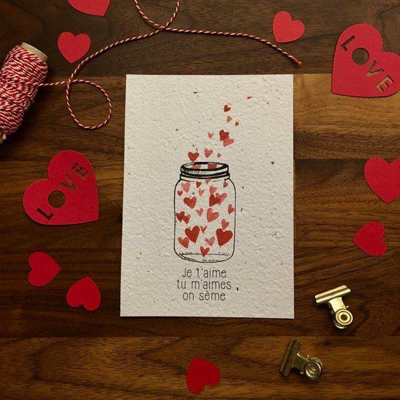 Carte A Planter Bocal Et Coeurs Carte De Saint Valentin Papier