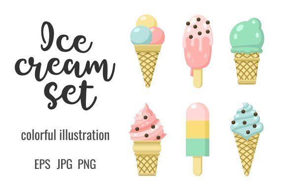 Icon set of yummy colored ice cream by primula on @creativemarket