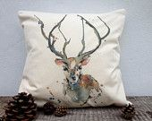 Stag printed cushion cover with Puddle Paints artwork