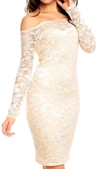 Dames jurk kant open schouders creme / licht beige S t/m XL €34,50 Dames jurk van kant in de maten S t/m XL met lange armen en open schouders in het creme / licht beige van Mayaadi ook in het zwart en grijs
