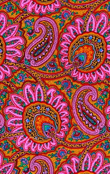 .Bright paisley colours