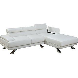 Poundex F7362 Bobkona Barry Bonded Leather Sectional with Arm Compartment, White