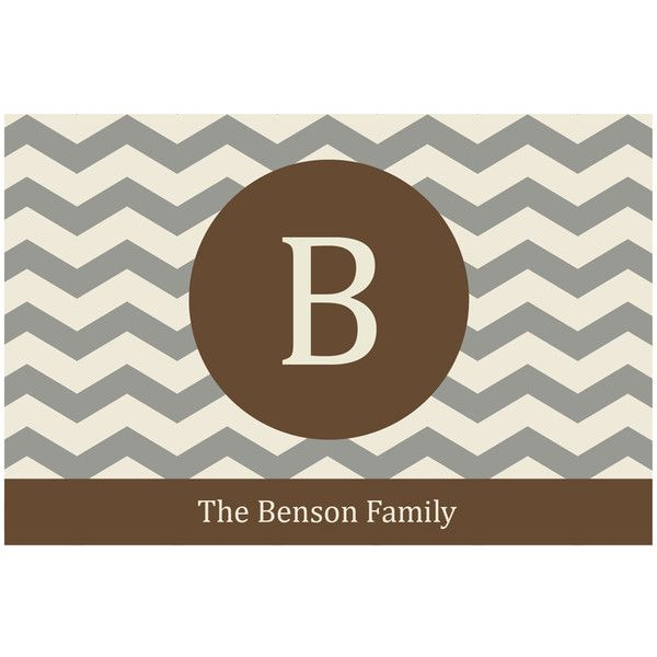 Personalized Planet Brown Chevron Family Name & Initial Personalized... (€18) ❤ liked on Polyvore featuring home, outdoors, outdoor decor, brown door mat, personalized garden decor, personalized door mats, personalized doormats and personalized outdoor mats