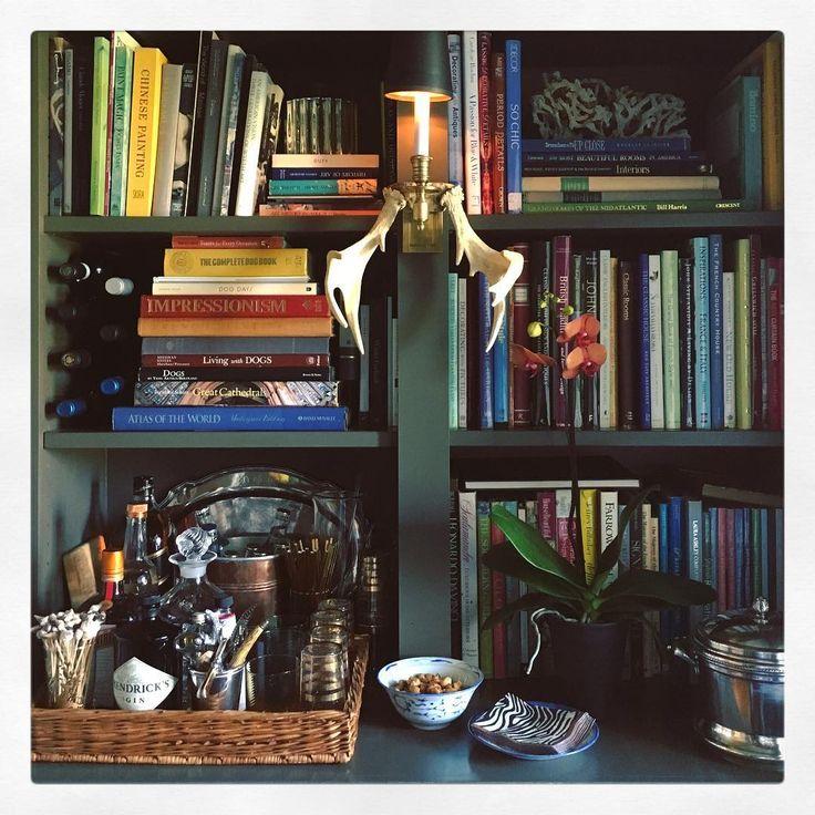 Mini-bar bookcase vignette - Maura Endres (P&L Tobacco, brass sconce, zebra napkins)