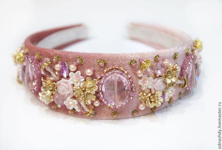 """Ободок-тиара """"Rosalia"""" в стиле Дольче Габбана - розовый,ободок для волос"""