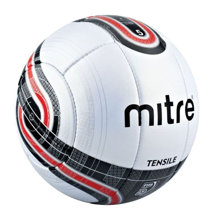 Soccer Ball Tensile 10P No 5 by Mitre, a combination of white, black and red color, this ball made from a super good quality material, ball is the essential piece of equipment in the game, get your Mitre soccer ball and start play your game. http://www.zocko.com/z/JICPQ