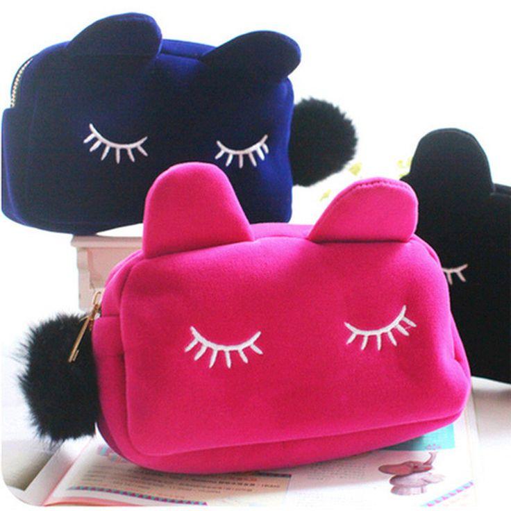 Cartoon Cat Velvet Solid Color Makeup Bags Cat Design Cosmetic Make Up Organizer Bag Women Bag Cosmetics Necessaries