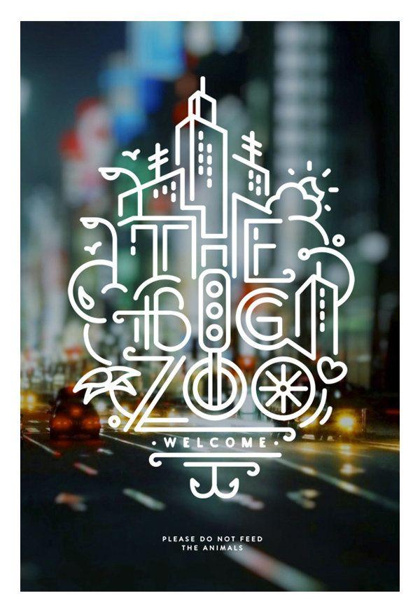 타이포그래피를 일러스트화 하는 포스터 The Big Zoo