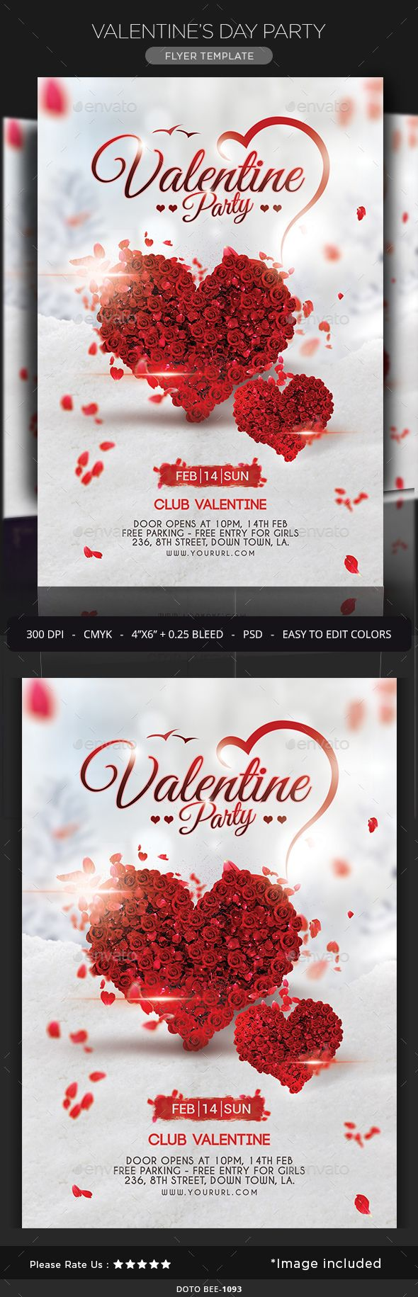 Valentine's Day Party Flyer — Photoshop PSD #beer #mardi gras • Available here → https://graphicriver.net/item/valentines-day-party-flyer/14487663?ref=pxcr