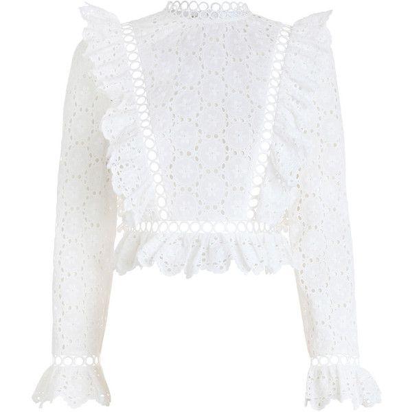 ZIMMERMANN Divinity Wheel Frill Top (915 TND) ❤ liked on Polyvore featuring tops, blouses, shirts, zimmermann, white ruffle shirt, swim shirts, white crop shirt, summer blouses and white embroidered blouse