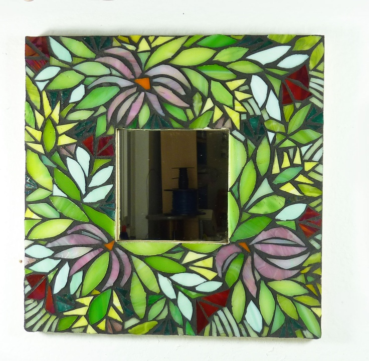 Mosaic Mirror Midnight Garden by glassetc on Etsy