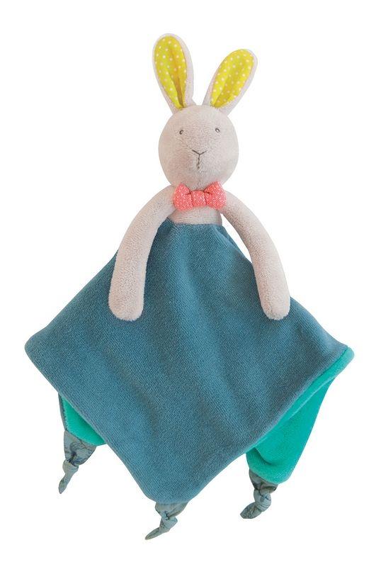 Achat de Doudou attache tétine Lapin Mademoiselle et Ribambelle Moulin Roty sur la boutique de jouet jeujouet.com. Livraison rapide en 24H seulement !